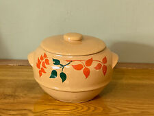 Vintage Stonwear Bean Pot Cookie Jar Hand Painted USA