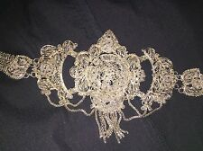 Vintage Intricate Silver Belly Dance Hip Belt Rhinestone Shiny