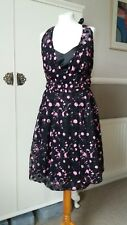 Hell Bunny XL Black/Pink variable hem dress Hallolween party goth steampunk