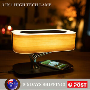 LED Table Desk Lamp Qi Wireless Phone Charger Wooden Wireless Bluetooth Speakers