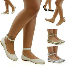 Womens Flat Ankle Strap Ballet Pumps Ladies Ballerina Party Bridal Smart Shoes