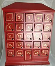 Restoration Hardware Christmas Advent Calendar Dark Red House with 25 doors