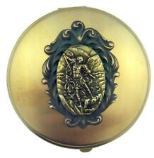 Antique Finish Saint St Michael Medal on Round Brass Relic Rosary Box or Pyx