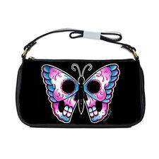 Lowbrow Rockabilly Goth Butterfly Calavera Traditional Tattoo Purse Clutch Bag
