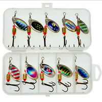 10pcs/Set Metal Hook Spinner Baits Fishing Lures Trout Salmon With box