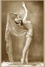 VINTAGE MUSICHALL DANCER NUDE WOMAN BURLESQUE GIRL FAB POSE BREASTS WALERY PHOTO