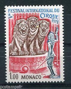 MONACO 1978, timbre 1168, CIRQUE, LIONS, neuf**