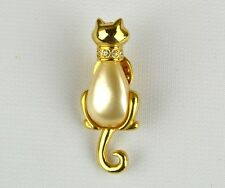 "JJ JONETTE JEWELRY VTG ESTATE Gold Tone Enamel Cat Brooch Pin ""Sitting Pretty"""