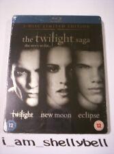 The Twilight Saga TWILIGHT + NEW MOON + ECLIPSE Ltd Ed 3-Disc Blu-ray STEELBOOK
