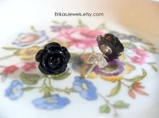 Little Black Rose Stud Earrings - Extra Small - 8 x 8 x 6 mm