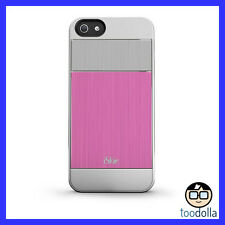 iSkin Aura - Ultra Slim Case, Brushed Aluminium Finish, iPhone 5/5s, Pink/Silver
