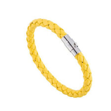 Mens Genuine Leather Braided Bracelet Wristband Colours Magnetic Clasp 6mm Yellow