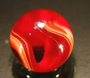 Akro Agate   BIG BOLD RED AUGER-ONYX  Amazing marble ! WET MINT