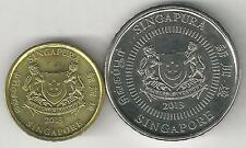 2 DIFFERENT COINS from SINGAPORE - 5 & 50 CENTS (BOTH DATING 2013)