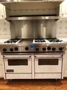 Viking 48 inch White Stainless Steel Freestanding Gas Range