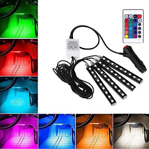 Car Interior Footwell 36 LED Strip Lights RGB Multicolour Remote Atmosphere Lamp