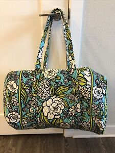 Vera Bradley Island Blooms Large Duffel Bag White Floral on Teal Travel Size