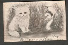 1909 Vincent Colby art post card cat dog- can I Play In Your Yard?/Jermyn PA