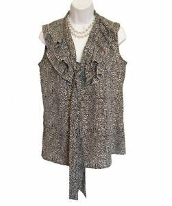 Ann Taylor LOFT Sleeveless Ruffled Shirt Size S 4 6 Shell Ruffle Gray TOP Tie