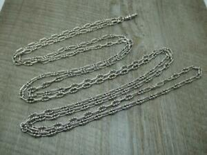 Sterling Silver 64 Inch Long Guard Muff Chain Fancy Link Necklace Antique Style