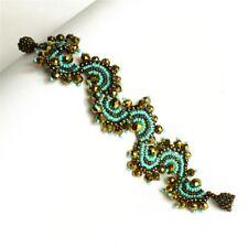 Czech Glass Bead Spiral Wave design Turquoise, Bronze Bracelet Cuff  Bangle