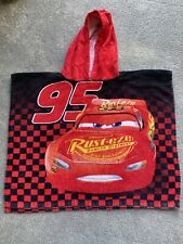 Disney Cars Lighting McQueen Hooded Towel Boys Beach Swimming Poncho Red