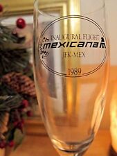 MEXICANA Airlines Inaugural Flight JKF-MEX  l989 Champagne Glasses (2) Blue Stem