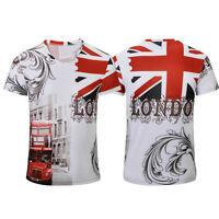 Sommer Männer Weinlese BRITISCHE Flagge London Art T Shirt grundlegendesG