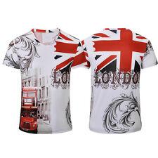 Vintage UK Flag London Style T-shirt Basic Tee Summer Men Casual Elastic XL Size