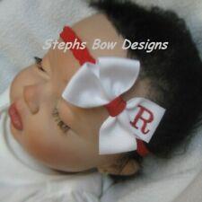 White w/ Red Monogram Dainty Hair Bow Headband Personalized 4 Preemie 2 Toddler