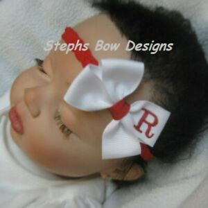 White w/ Red Monogram Dainty Hair Bow Headband Personalized 4 Preemie 2 Toddler