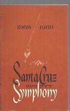 Santa cruz county symphony 1968-69 official program softcover good condition