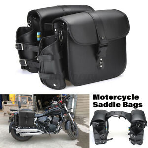 Motorcycle Left & Right Leather Side Saddle Bags Pouch Luggage Storage Tool Bag