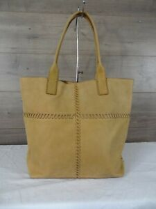 Lucky Brand Tan Whipstitch Leather Tote Handbag Purse Hobo
