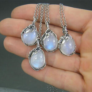 Vintage 925 Silver Moonstone Leaf Winding Necklace Women Jewelry for Mother Gift