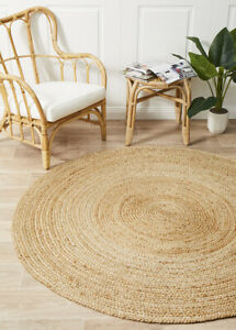 ALISON JUTE RUG ROUND NATURAL Circle Beige Floor mat Carpet Large FREE POST*