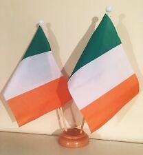 IRELAND EIRE 9X6 inch 22.5cm x 15cm TABLE FLAG TWIN SET WOODEN BASE IRISH
