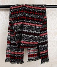 100% Silk brushed nap Scarf men Women Shawl Wrap striped black red gray QS71-10