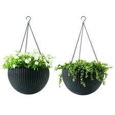 2 Pack Brown Resin Hanging Garden Planter, Rattan Match Wicker Patio Furniture