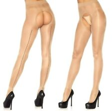 Nude Spandex Sheer French Cut Crotchless Tights W/Black Backseam, No Gusset