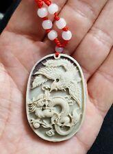 Objet de collection chinoise Jade zipao Sculpté Dragon & Phoenix Collier Pendentif