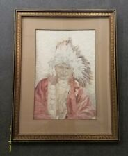 Unsigned Textile Western Folk Art of Man with Feather Headdress Framed 22x28