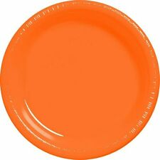 20 assiettes plates en plastique orange Ø 23 cm [10106] decor de table fetes