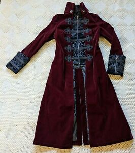 Punk Rave wine red velvet black embroidery steampunk gothic elegant vampire coat