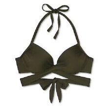 Mossimo Olive Wrap Push-up Halter Bikini Swim Top Medium