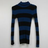 Love By Design Blue & Black Striped Turtleneck Pull Over Sweater Women's Size XL