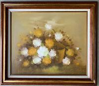 BROWN Original  Still Life Floral Oil Painting Signed Framed