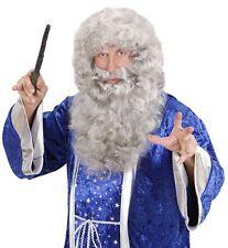 Deluxe Grigio Barba Parrucca Mago Gandalf Silente magic MERLIN Sailor Costume