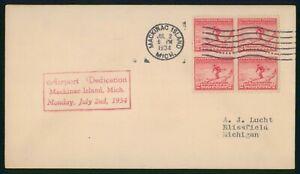MayfairStamps 1934 US Cover Airport Dedication Mackinac Island wwo39753
