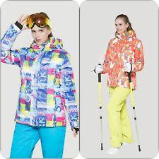 Damen Skianzug Schneeanzug Skijacke mit Kapuze Skihose mit Träger Skianzug Set